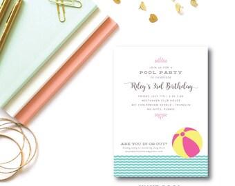 Wave Pool Printed Birthday Invitations