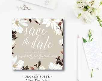 Decker Printed Save the Dates | Wedding Save the Date | Southern Magnolia Wedding Suite Invitation | Printed by Darby Cards Collective