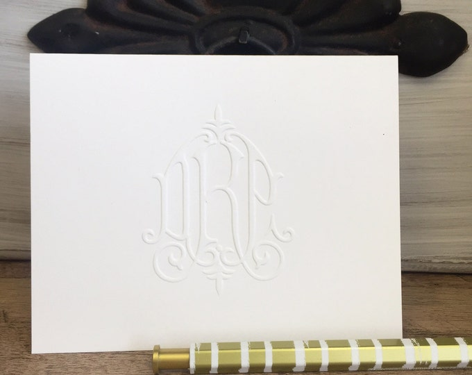Featured listing image: Folded 4x5 Notecards Victorian Embossed Monogram Notes and Blank Envelopes