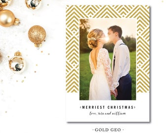 Gold Geo Christmas Cards