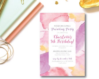 Watercolor Painting Party Invitations