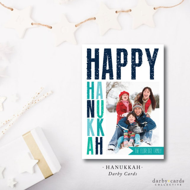 Hanukkah Printed Holiday Cards | Printed with envelope or Digital file from Darby Cards