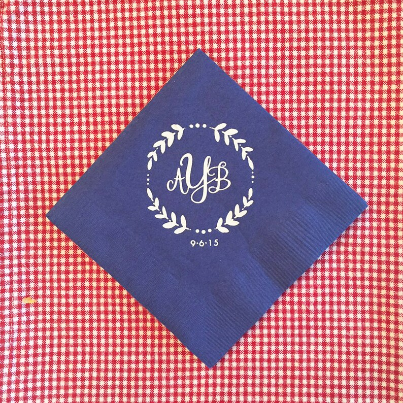 Wedding or Personalized Home Gift Monogrammed Napkins Monogram Wreath Darby Cards