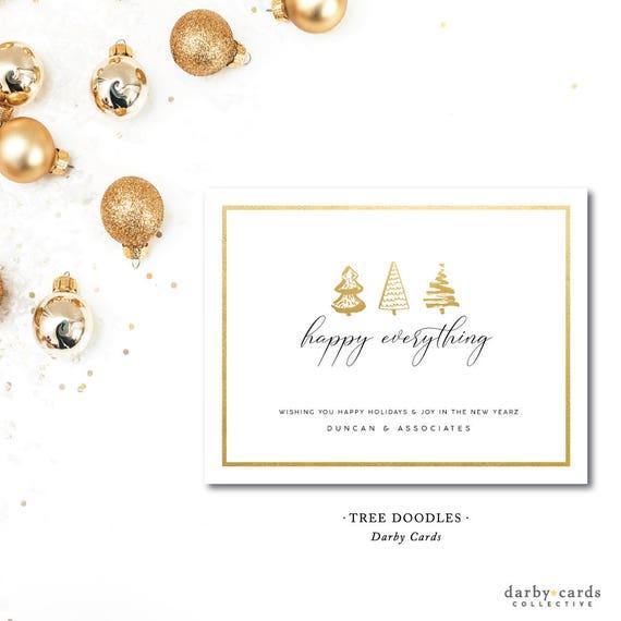 Christmas Card Printing.Tree Doodles Printed Holiday Christmas Card Printed Or Printable By Darbycards