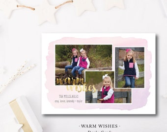 Warm Wishes Printed Card | Pink and Gold Watercolor Photo Card |  Printed or Printable by DarbyCards