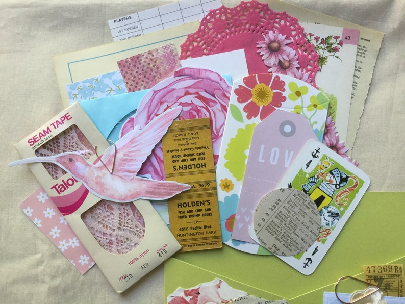 Ephemera Pocket Filled With Fun Bright Pink Green and Vintage Pieces 25 pcs