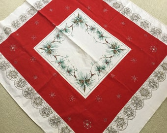 Vintage Christmas Winter Pinecone Square Tablecloth Red