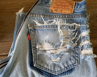 a5326ced Custom Butt Zipper LEVIS Denim Vintage Ripped jeans - All Sizes Available