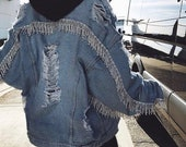 VINTAGE Custom CRYSTAL Cut Off Denim Jacket