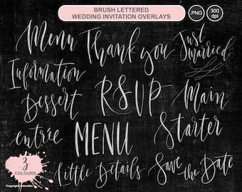 Wedding Invitation Suite ~ Digital Overlays ~ Brush Lettered Digital Artwork ~ Marriage Celebration