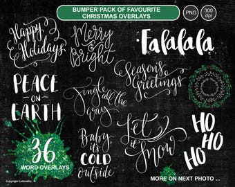 BUMPER Set Christmas Overlays ~ Digital Word Artwork ~ Holiday Graphics ~ Festive Wreaths ~ Hand-lettered Digital Stamp ~ Scrapbook Crafts