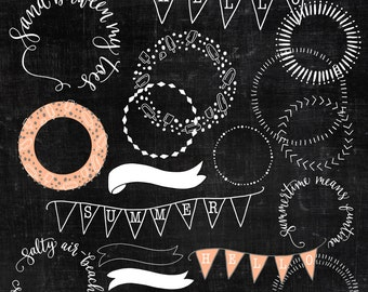 Summer Celebration Circles Clipart ~ Hand-drawn Editable Digital Borders ~ Scrapbooking Craft Overlays ~ Lettered Calligraphy Circles