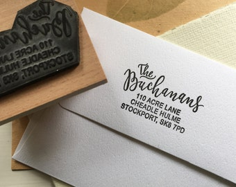 Custom Modern Calligraphy Address Stamp ~ Hand-Lettered and Typography ~ Wooden and Rubber Stamp