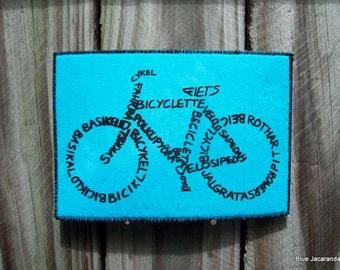 Bicycle Calligram Art Card Black Print on Turquoise