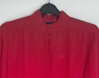 High collar red sheer early 1980's blouse