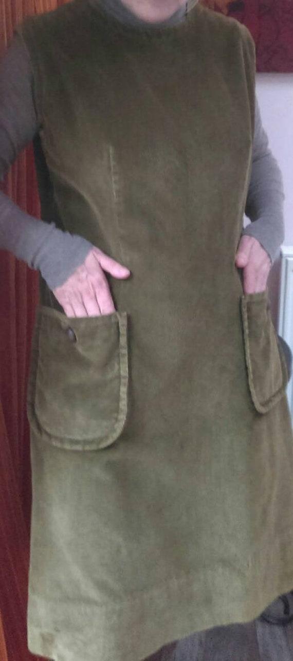 Vintage 1960's corduroy pinafore dress. - image 2