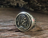 Hobo nickel brave Indians ring for man made of sterling silver 925 Mexican Biker style