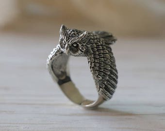 Owl Ring, Bird ring, Angel Wings ring, feather ring, Boho ring, animal ring, sterling silver, handmade ring, tattoos, Celtic ring biker