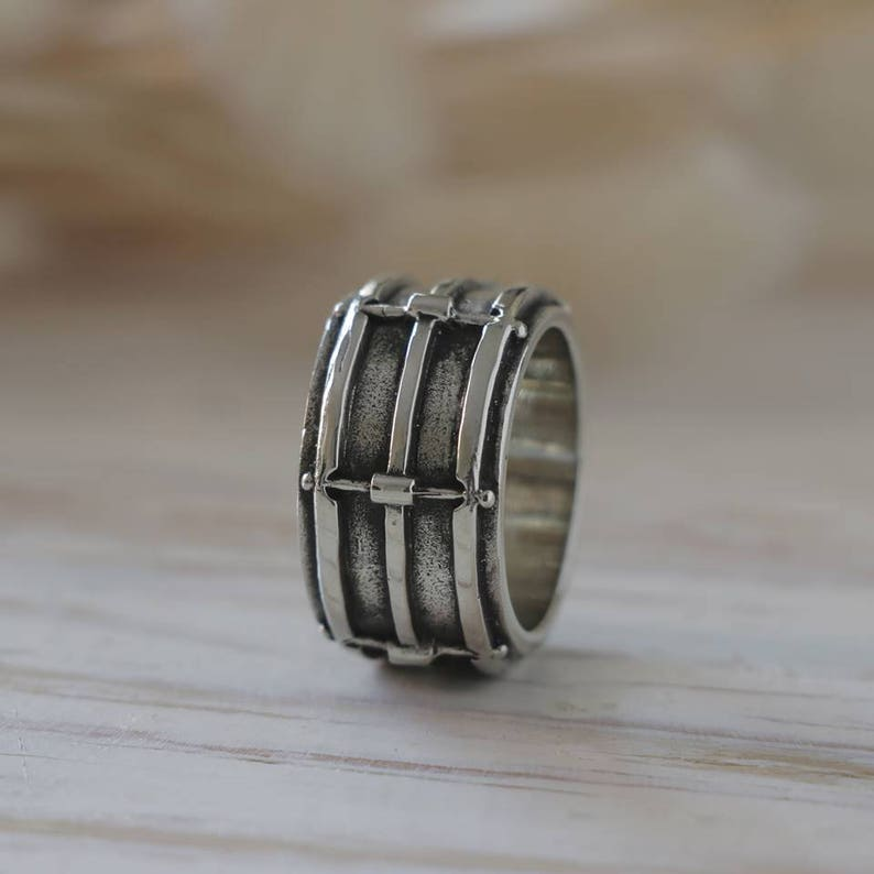 snare drum ring for drummer made of sterling silver 925 punk rock style