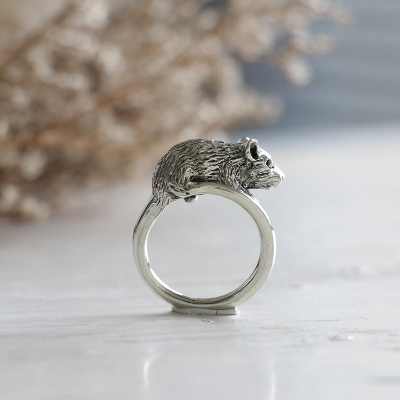 Little Mouse ring for women made of sterling silver 925 animal style