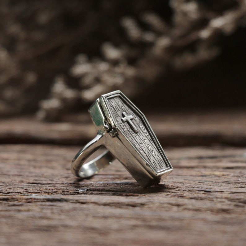 Precious Metal Without Stones Tiny Sterling Silver Coffin Ring Size K Jewellery & Watches