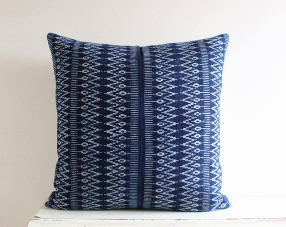 "Hmong indigo batik pillow / cushion cover 20"" x 20"""