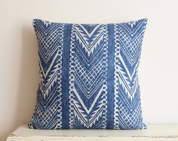 Block printed chevron pillow cushion cover in indigo