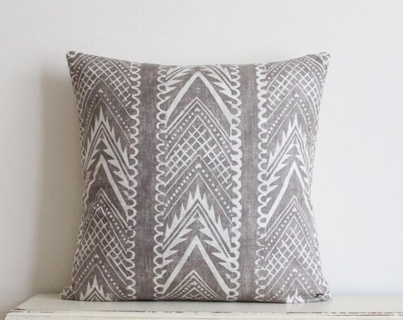 "Block printed chevron pillow cushion cover 20"" x 20"" in latte"