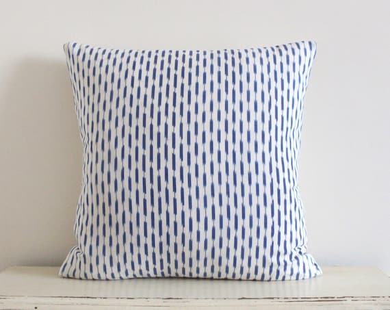 "Dash Ikat pillow / cushion cover in denim blue 20"" x 20"""