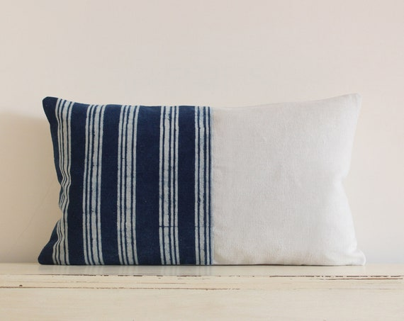 "Indigo stripe batik lumbar pillow / cushion cover 12""x 20"""