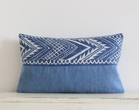"Block printed chevron and denim pillow / cushion cover 12"" x 20"""