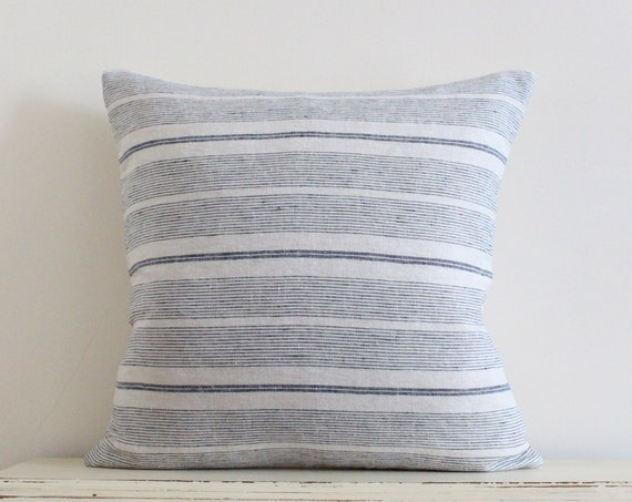 "Grey blue stripe 100% linen pillow / cushion cover 20"" x 20"""