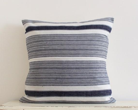 "Vintage handwoven Hmong hemp pillow / cushion cover 20"" x 20"""