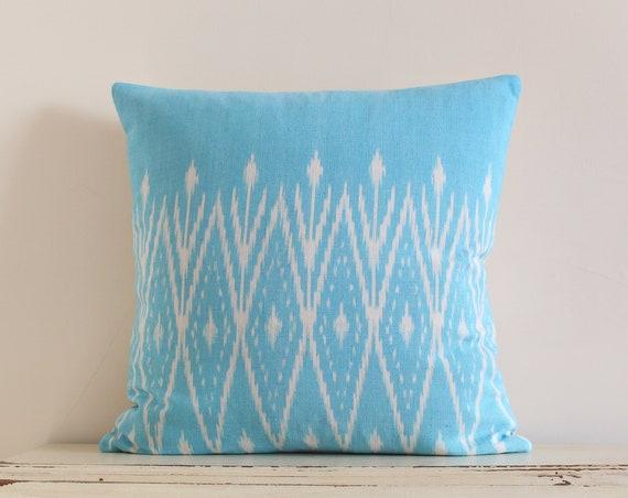 """Thai handwoven light blue pillow / cushion cover 20"""" x 20"""""""