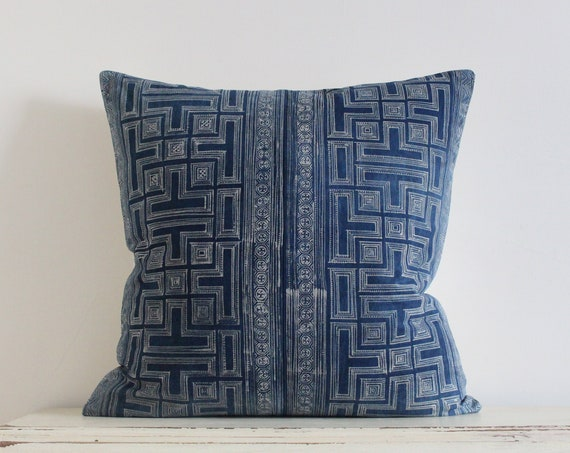 "Vintage Hmong indigo batik pillow / cushion cover 20"" x 20"""