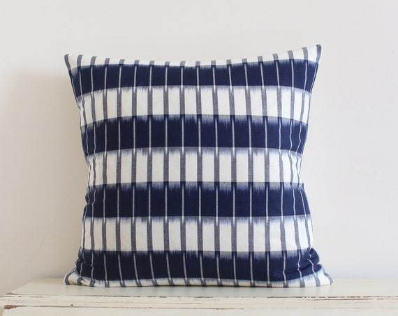 """Handwoven striped blue and cream ikat pillow / cushion cover 20"""" x 20"""""""