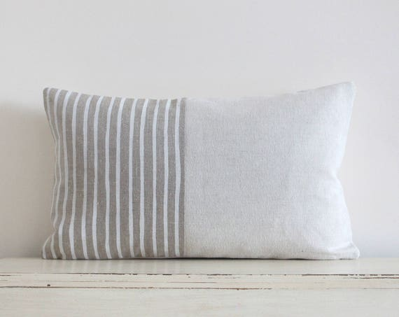 """Painted stripe linen pillow / cushion cover 12"""" x 20"""""""