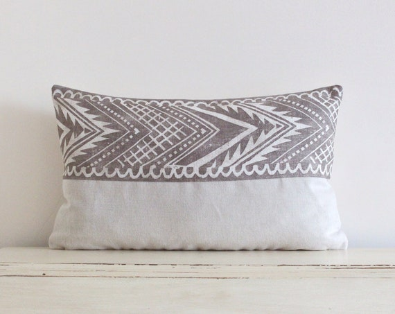 "Block printed chevron pillow / cushion cover 12"" x 20"" in cream and latte"