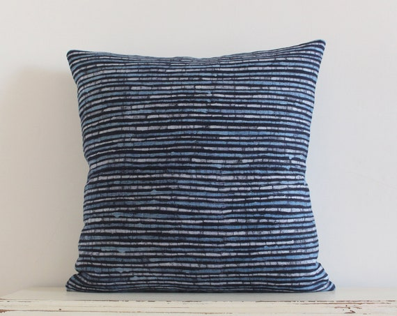 "Vintage Hmong indigo batik stripe pillow / cushion cover 20"" x 20"""