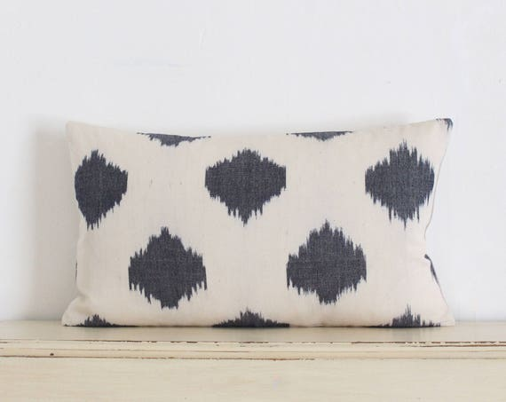 """Grey and cream ikat pillow / cushion cover 12"""" x 20"""""""