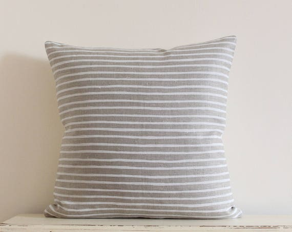 Hand painted stripe linen pillow / cushion cover in white and tan