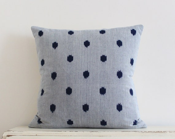 "Limited addition indigo spot ikat pillow / cushion cover 20"" x 20"""