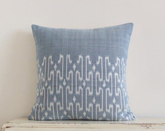 "Thai handwoven light blue pillow / cushion cover 20"" x 20"""