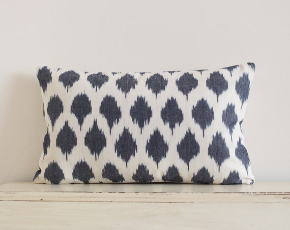 "Grey and cream ikat pillow / cushion cover 12"" x 20"""