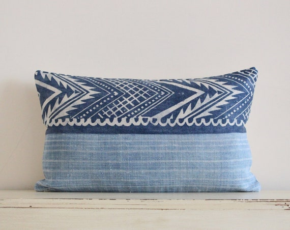 "Block printed chevron and Hmong batik pillow / cushion cover 12"" x 20"""
