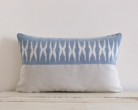 "Thai handwoven light blue pillow / cushion cover 12"" x 20"""
