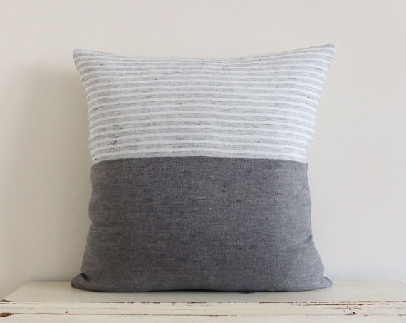 "White and grey linen mix pillow / cushion cover 20"" x 20"""