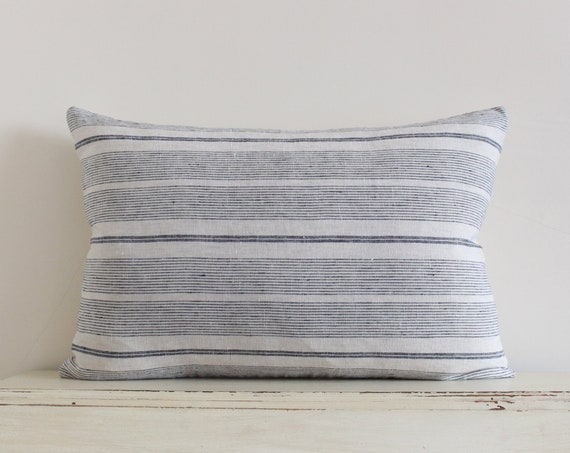 "Grey blue stripe 100% linen pillow / cushion cover 16"" x 24"""