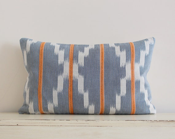 "Vintage African Baule strip cloth pillow / cushion cover 12"" x 20"""