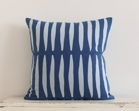 "Block printed and stitched indigo pillow / cushion cover 20"" x 20"""